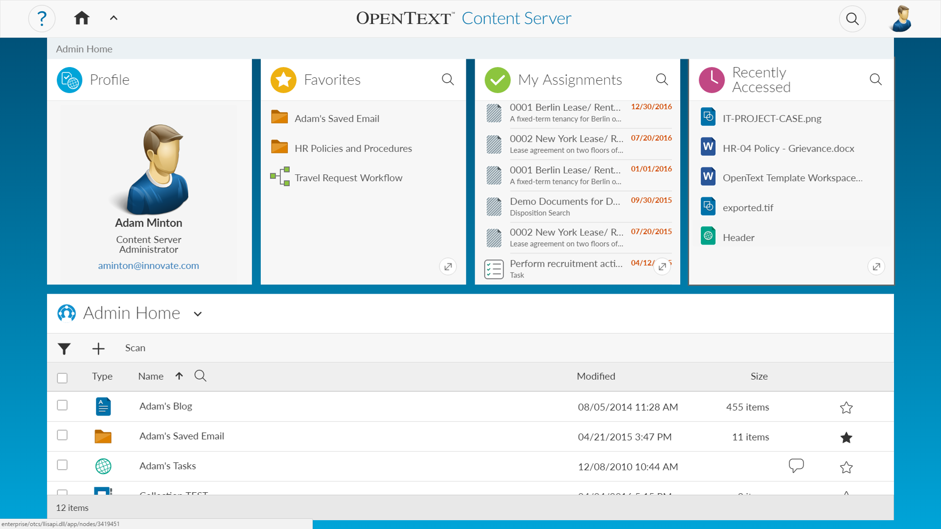Capture d'écran Opentext Content Server Tableau de bord Gestion Documentaire